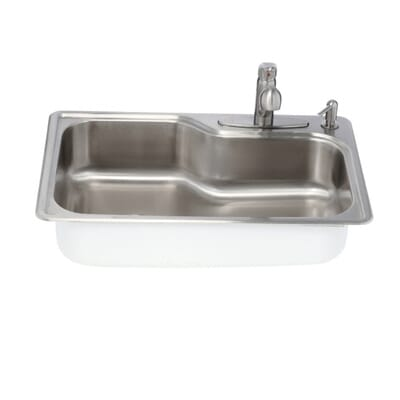 glacier bay all in one drop in stainless steel 33 in 4 hole single basin kitchen sink vt3322b1 the home depot - Glacier Bay Kitchen Sink