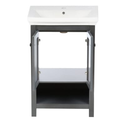 home decorators collection hanley 2363 in vanity and vitreous china sink in charcoal grey with porcelain vanity top in white hagos2417 the home depot - Home Decorators Vanity
