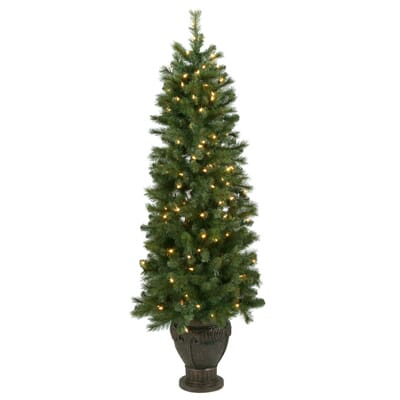 Home Accents Holiday 6.5 ft. Pre-Lit LED Wesley Spruce Artificial ...