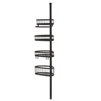 interDesign York Tension Pole Shower Caddy in Bronze 42671   The Home Depot. interDesign York Tension Pole Shower Caddy in Bronze 42671   The