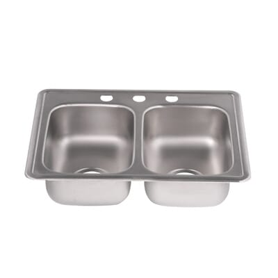 elkay dayton drop in stainless steel 25 in 3 hole double basin kitchen sink d225193 the home depot - Bowl Kitchen Sink