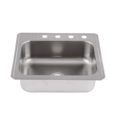 glacier bay drop in stainless steel 25 in 4 hole single basin kitchen sink hdsb252284 the home depot. beautiful ideas. Home Design Ideas