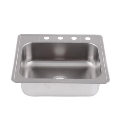 glacier bay drop in stainless steel 25 in 4 hole single basin kitchen sink hdsb252284 the home depot - Glacier Bay Kitchen Sink