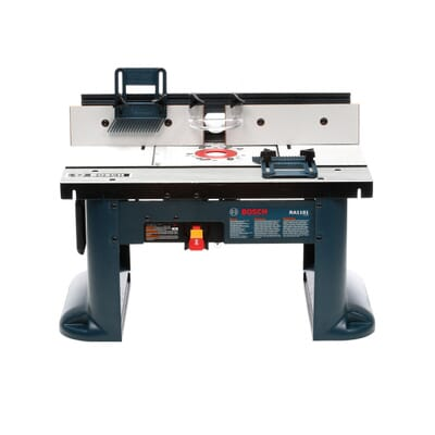 Bosch 15 amp corded 27 in x 18 in aluminum top benchtop router aluminum top benchtop router table with 2 12 in vacuum hose port ra1181 the home depot greentooth Images