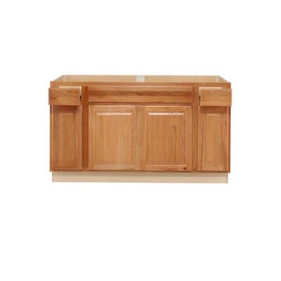Hampton Bay Hampton Assembled 60x34 5x24 In Sink Base Kitchen Cabinet In Medium Oak Ksb60 Mo The Home Depot