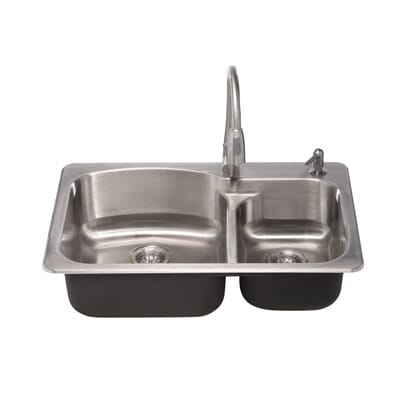 glacier bay all in one dual mount stainless steel 33 in 2 hole double basin kitchen sink vt3322g2 the home depot - Glacier Bay Kitchen Sink