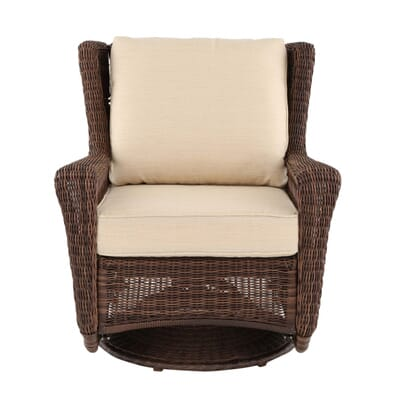Outdoor All Weather Wicker Three Piece Set With Loveseat And Swivel Rockers
