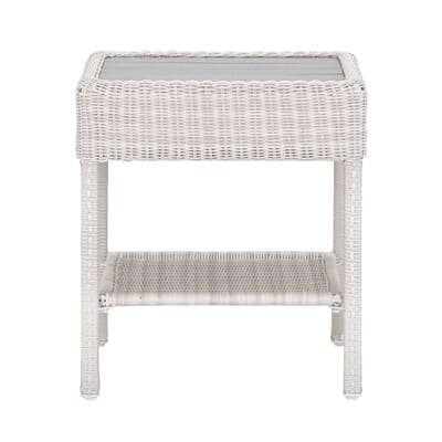 Hampton Bay Park Meadows Off White Wicker Outdoor Accent Table 65