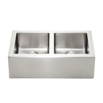 pegasus farmhouse apron front freestanding 33 in double basin kitchen sink in stainless steel ap2033 the home depot. Interior Design Ideas. Home Design Ideas