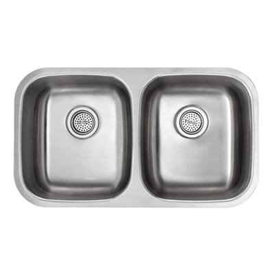 schon all in one undermount stainless steel 32 in double basin kitchen sink sc505018 the home depot - Metal Kitchen Sink