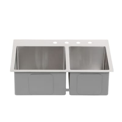glacier bay all in one drop in stainless steel 33 in 4 hole double basin 6040 kitchen sink in satin 4168f the home depot. beautiful ideas. Home Design Ideas