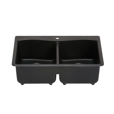 Kohler Kennon Drop In Undermount Neoroc 33 In 1 Hole Double Basin Kitchen Sink In Matte Black K Rh8185 1 Cm1 The Home Depot