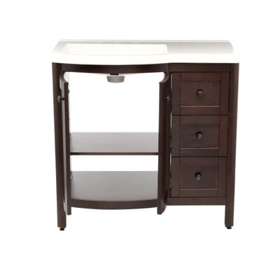Home Decorators Collection Madeline 36 In Vanity In Chestnut With Alpine Vanity Top In White Md36p2com Cn The Home Depot