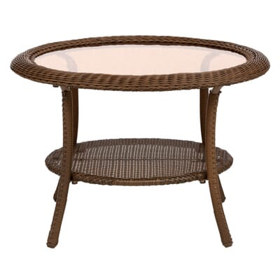 Brown All-Weather Wicker Round Patio Coffee Table-66-20310 - The Home Depot - Hampton Bay Spring Haven 30 In. Brown All-Weather Wicker Round