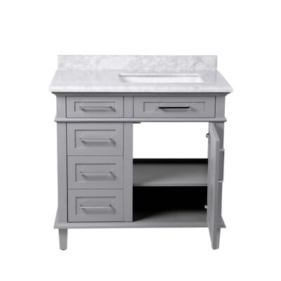 home decorators collection sonoma 36 in w x 22 in d x 345 in h vanity in pebble grey with natural marble vanity top in white with white basin 8105100240 - Decorators Collection