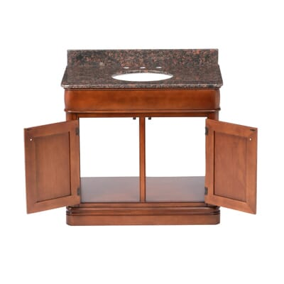 home decorators collection la grange 38 in vanity in glazed sienna with granite vanity top in tan brown 19avbcu3821 the home depot - Home Decorators Collection