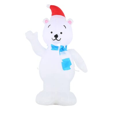 Home Accents Holiday 29 13 In W X 14 57 In D X 42 13 In H Lighted Inflatable Outdoor Polar Bear 39416 The Home Depot