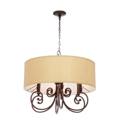 World Imports Rue Maison 6Light Iron and Euro Bronze Chandelier – Bronze Chandelier with Shades