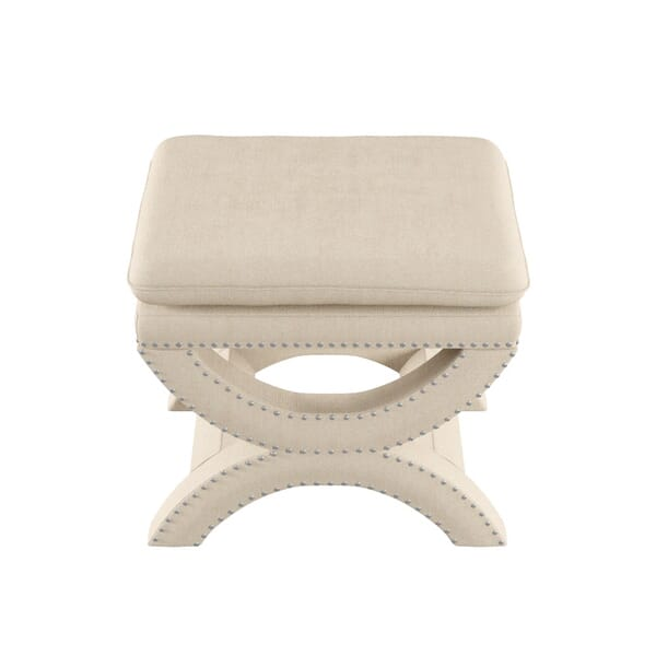 Home Decorators Collection - Valencia 19.5 in. H. Upholstered Vanity Stool in Faux Linen Herringbone Natural