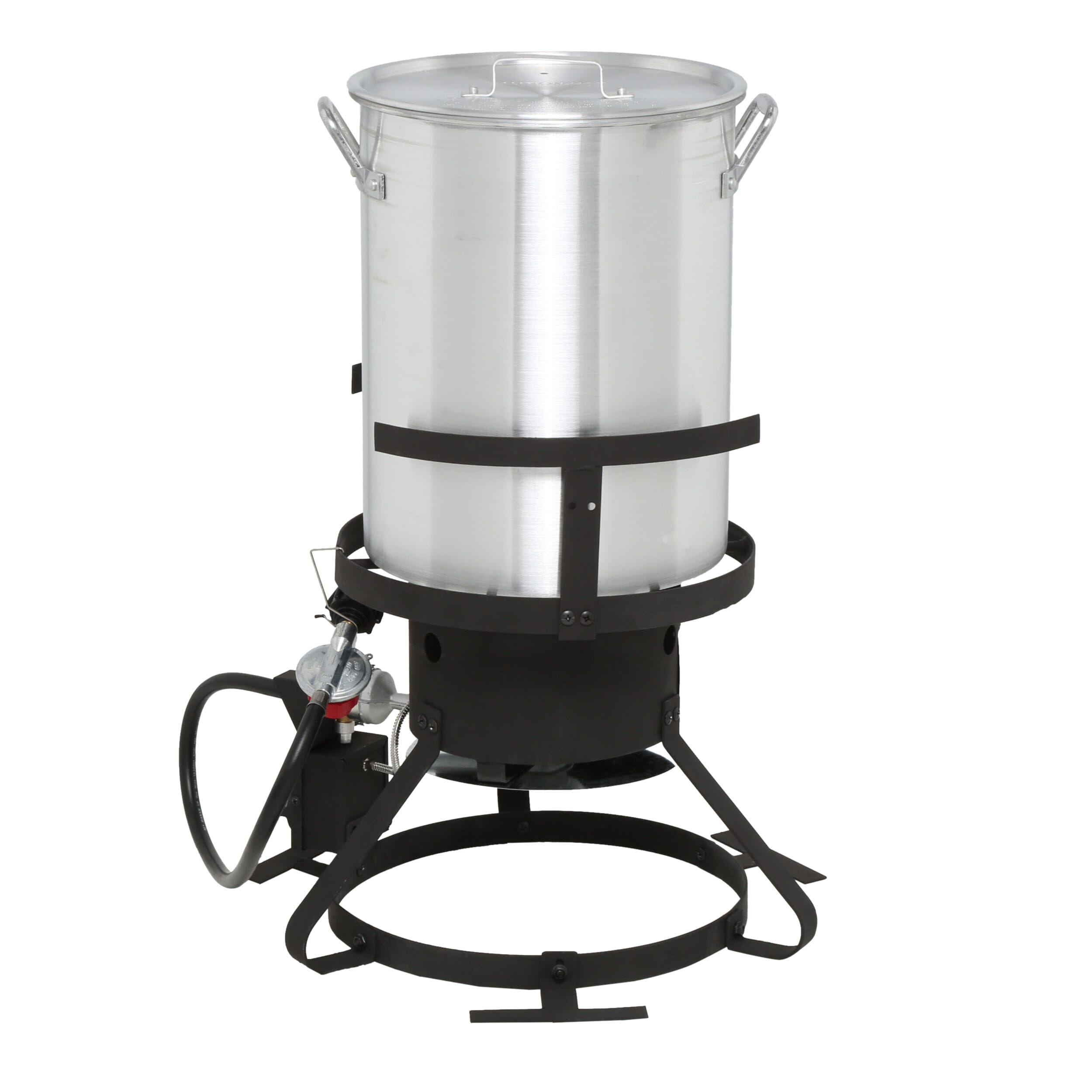 Turkey fryer featuring an aluminum pot and lid for durability