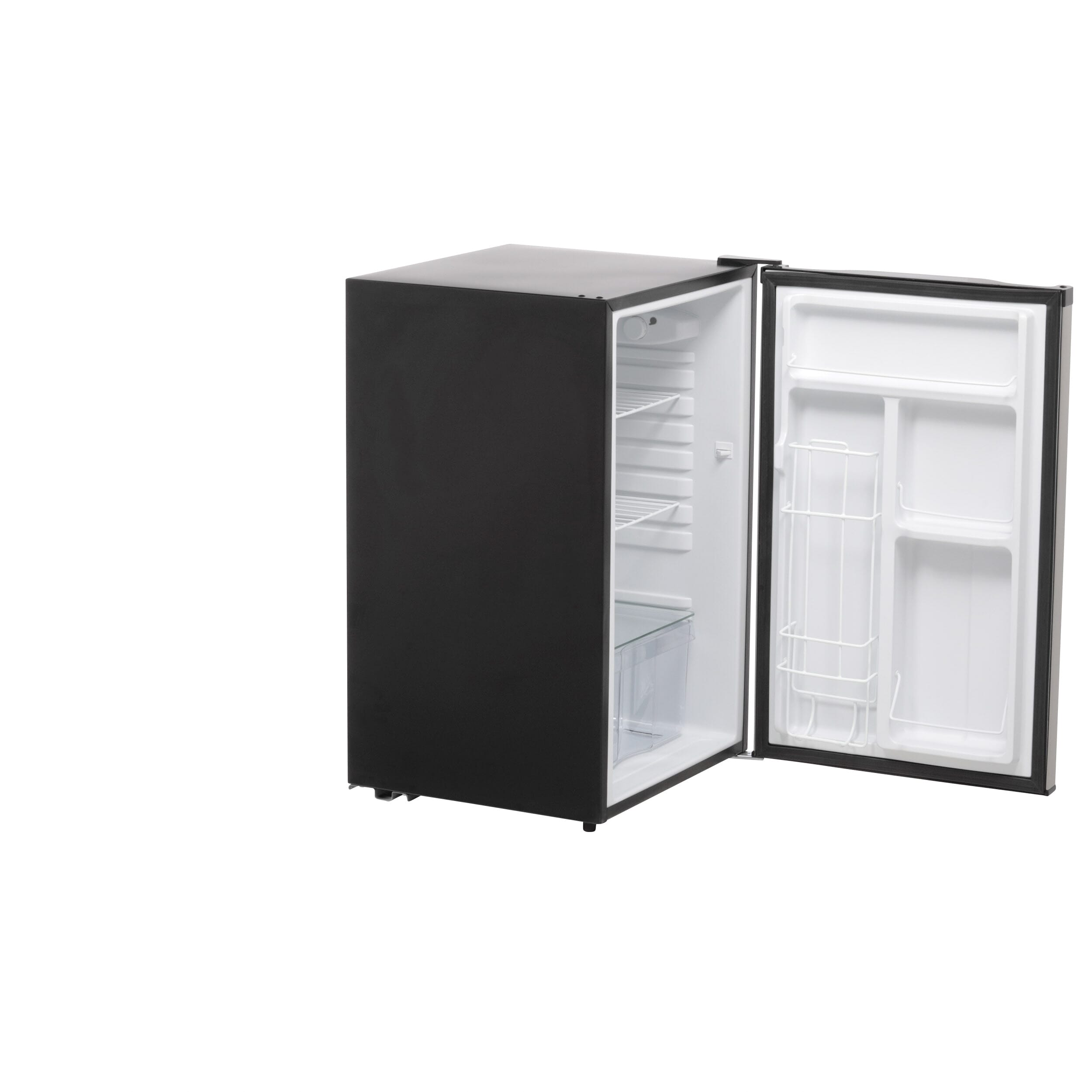 Mini refrigerator outfitted with a beverage dispenser for 12 cans