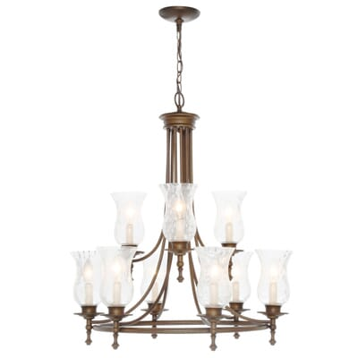 Hampton Bay Grace 9 Light Rubbed Bronze Chandelier With Seeded Glass Shades 4