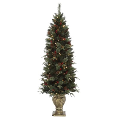 Home Accents Holiday 6 5 Ft Pre Lit Potted Artificial Christmas  - Christmas Trees In Home Depot
