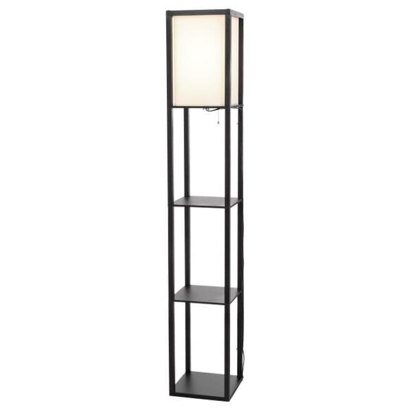 Floor lamp showcasing three lower shelves for decorative storage
