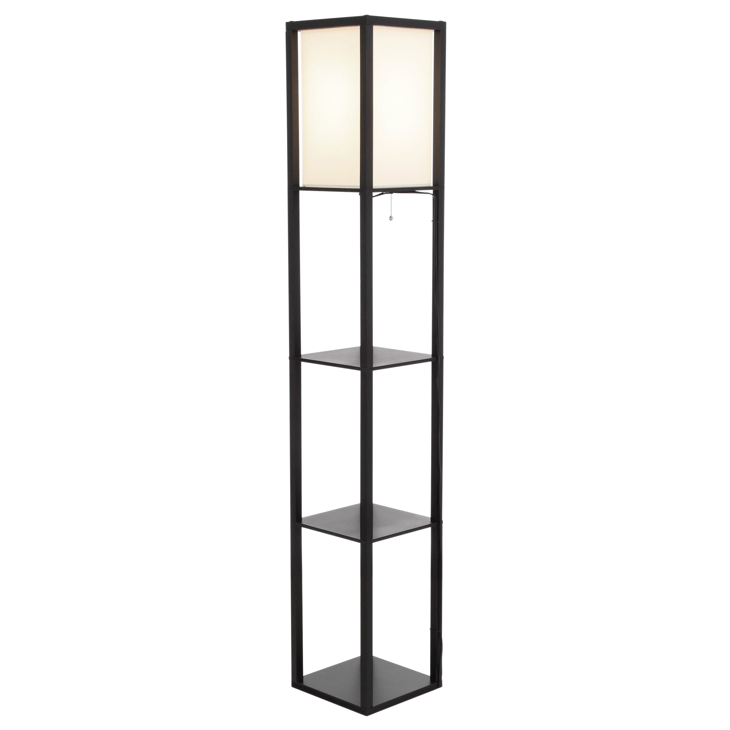 Floor lamp featuring a linen shade in the top section