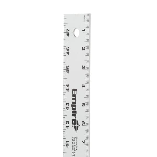 Straight edge ruler with a hole on the end for easy hanging
