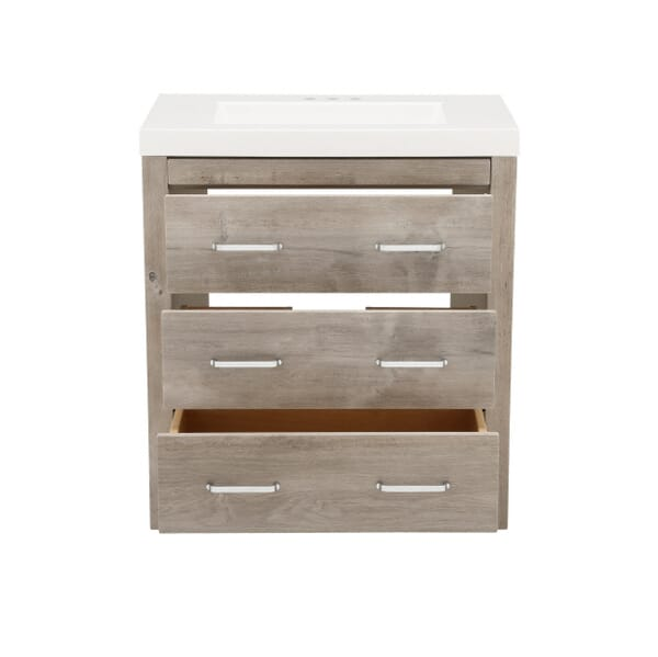 Glacier Bay - Woodbrook 31 in. W x 19 in. D Bath Vanity in White Washed Oak with Cultured Marble Vanity Top in White with White Sink