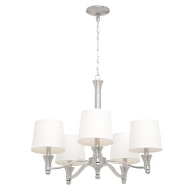 Hampton Bay 5-Light Brushed Nickel Chandelier with White Fabric ...