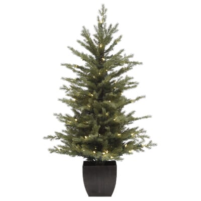 home accents holiday 4 ft pre lit warm white led potted artificial christmas tree set of 2 ty017 1717 the home depot - 2 Ft Christmas Tree
