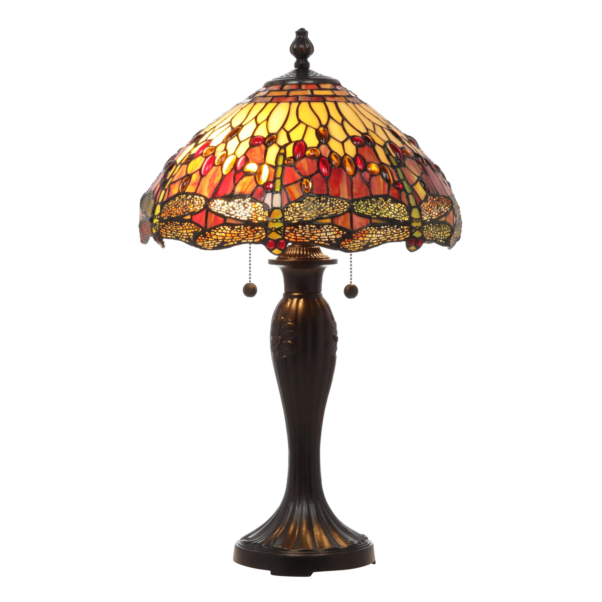 Table lamp featuring a durable stained glass shade