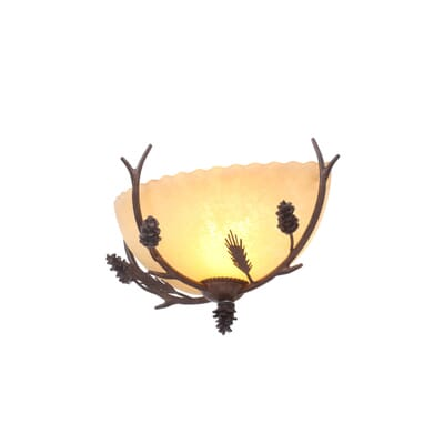 Hampton Bay Lodge 1 Light Weathered Spruce Sconce With Textured Sunset Glass Shade 5