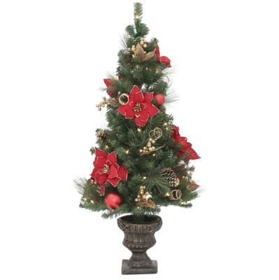 Home Accents Holiday 4 Ft Poinsettia Potted Artificial Christmas  - Christmas Trees In Home Depot