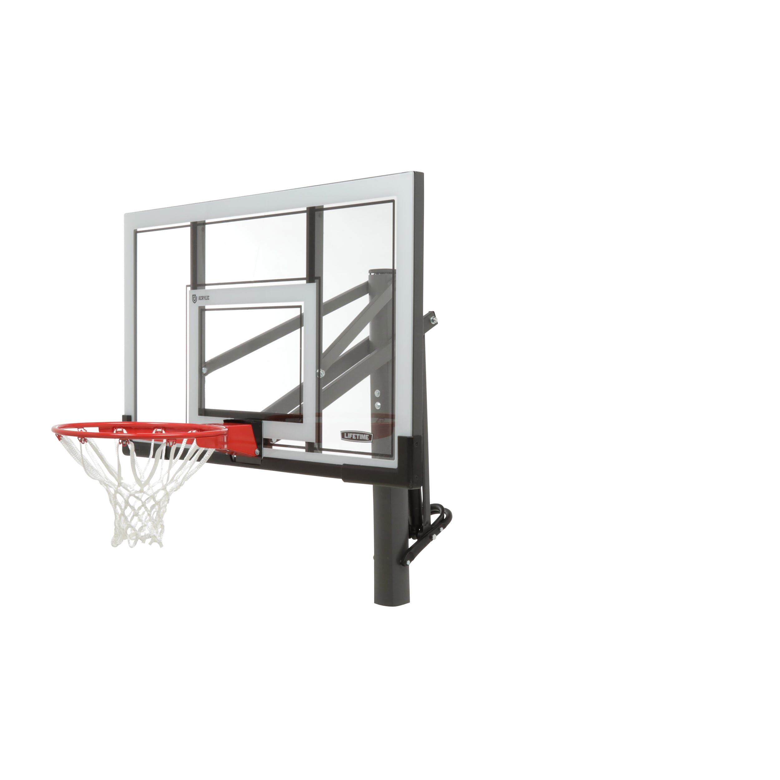 Basketball system featuring a powder-coated finish for outdoor use