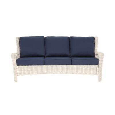 Hampton Bay Park Meadows Off White Wicker Outdoor Sofa With